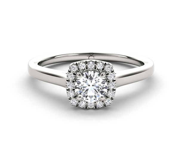 Cushion Shaped Halo Diamond Engagement Ring