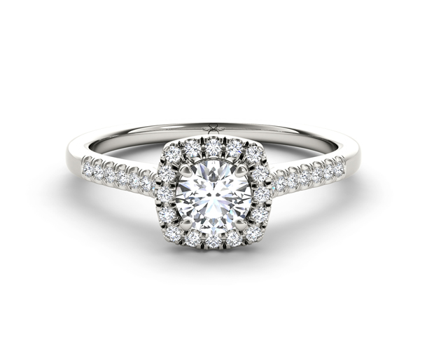 Cushion-Cut Diamond Framed Engagement Ring