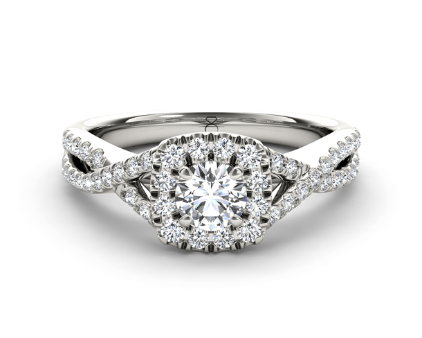 Cushion Shaped Diamond Frame Twist Engagement Ring